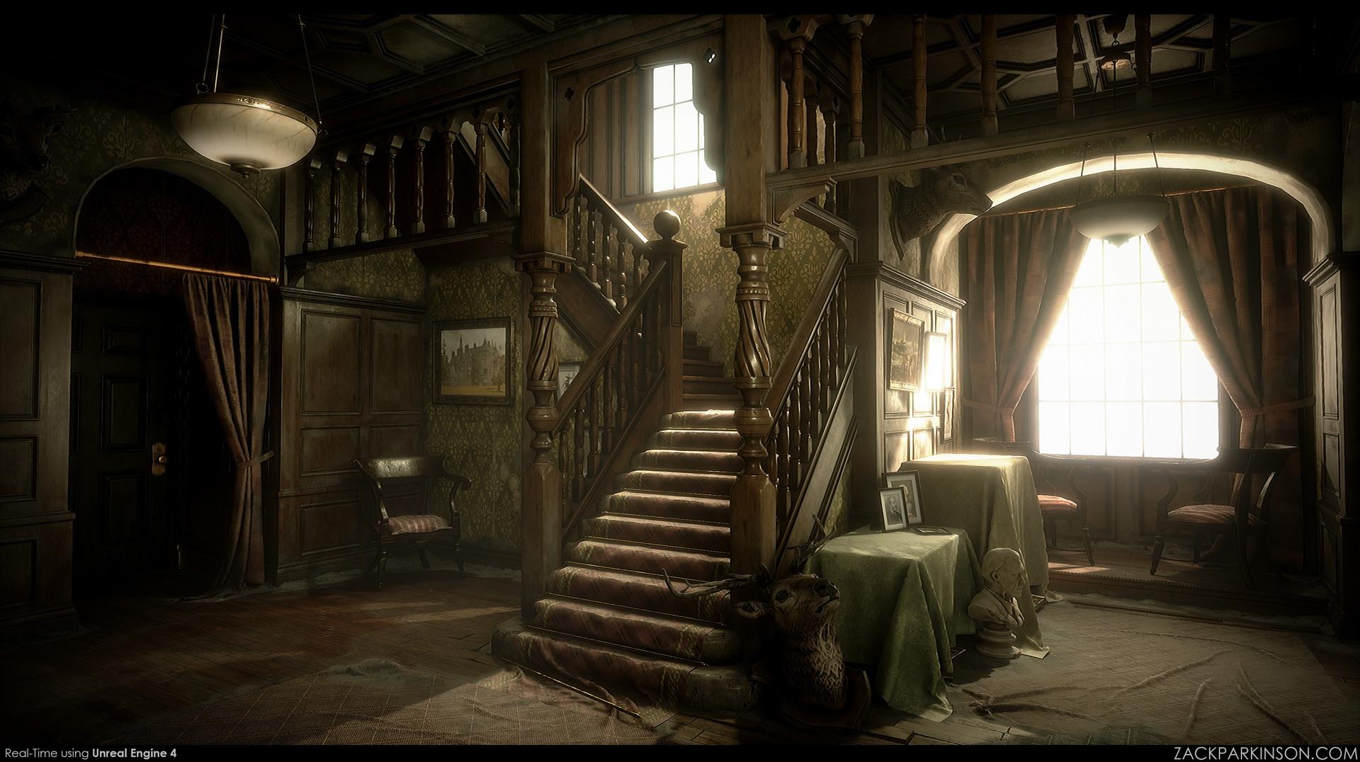 Wallpaper 3d Resident Evil 4 Artstation Abandoned Scottish Manor Zack Parkinson