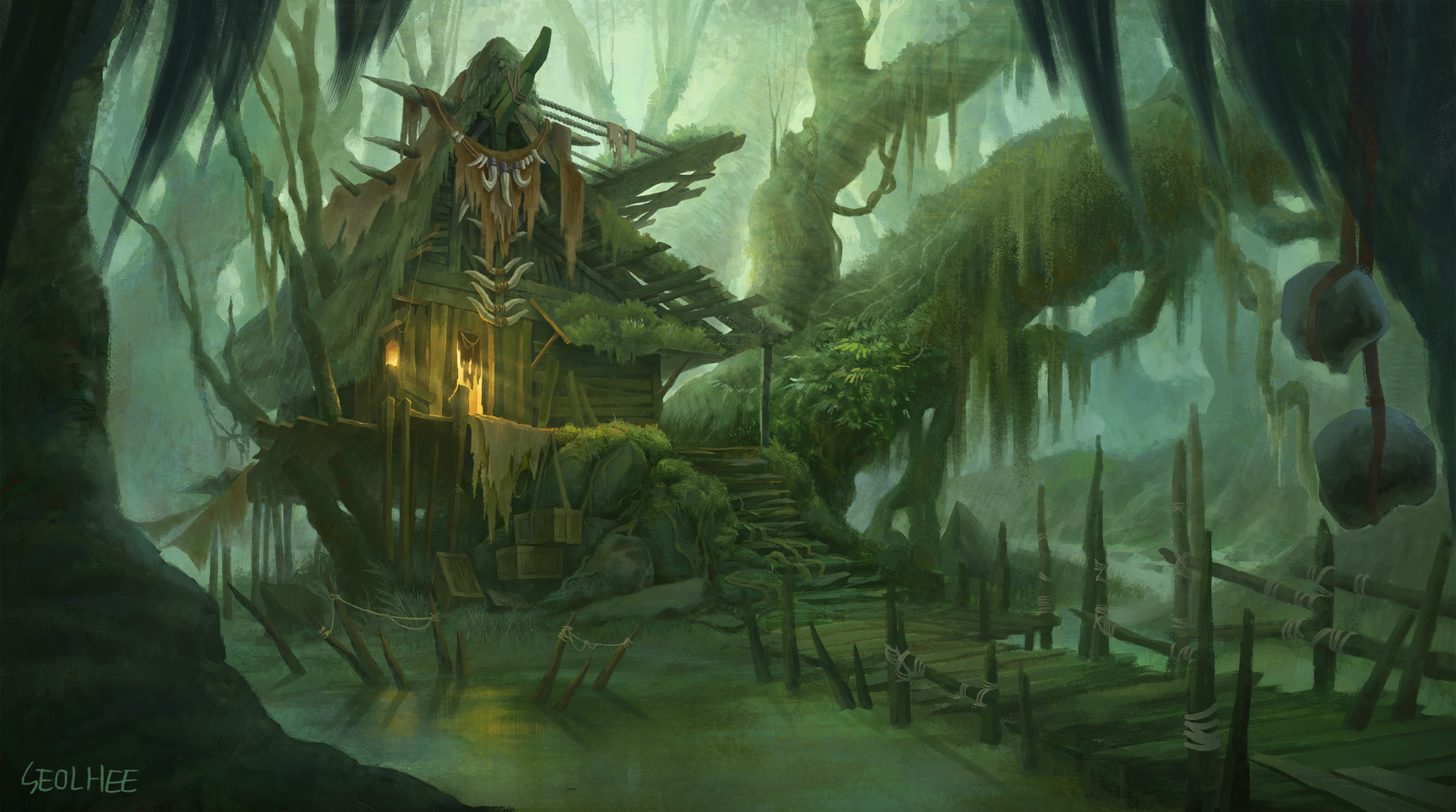 Cute Animated Wallpapers For Desktop Artstation Witch S House In A Swamp Seolhee Park