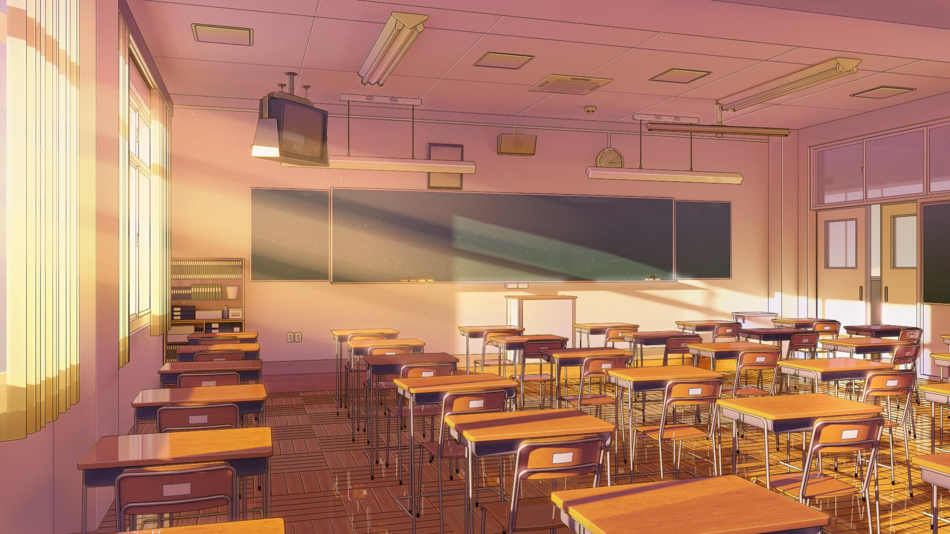 3d Server Wallpaper Artstation Japanese Classroom Alexey Skorov