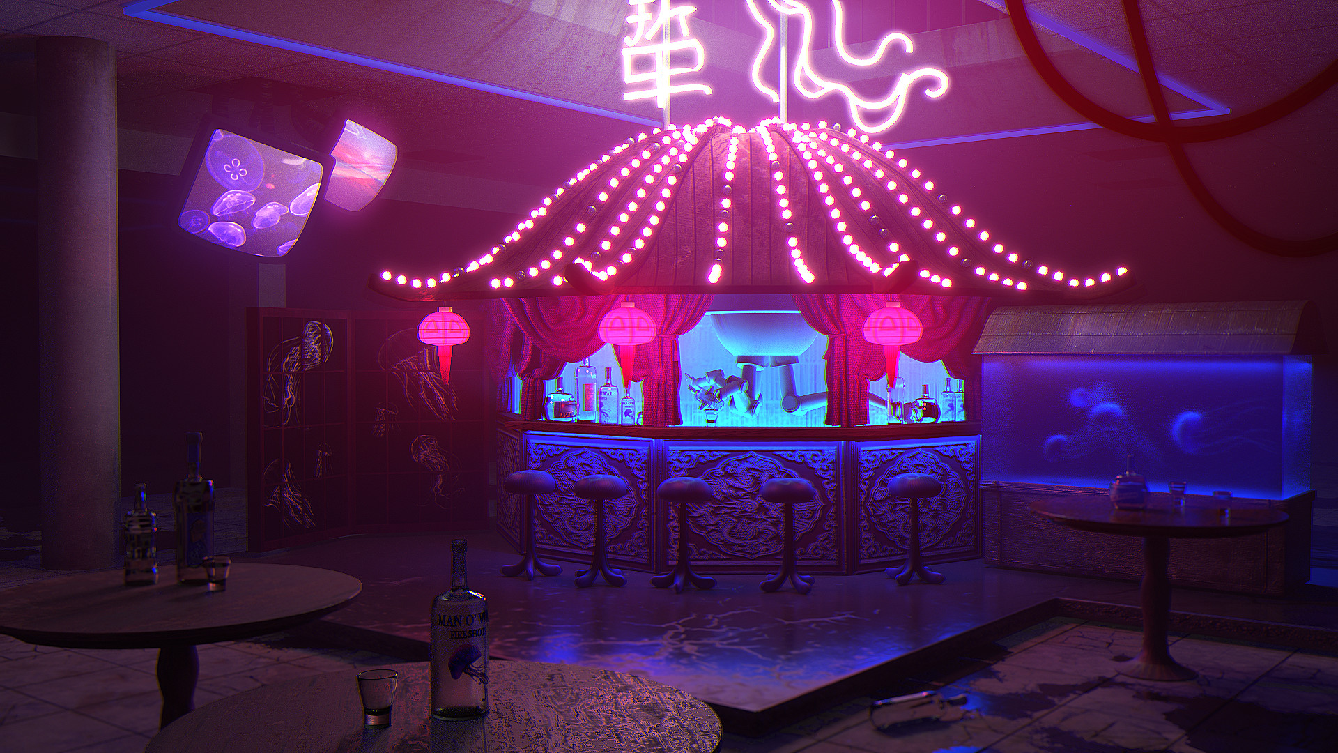 Fly Table Bar Artstation Neon Jellyfish Bar L M Fly