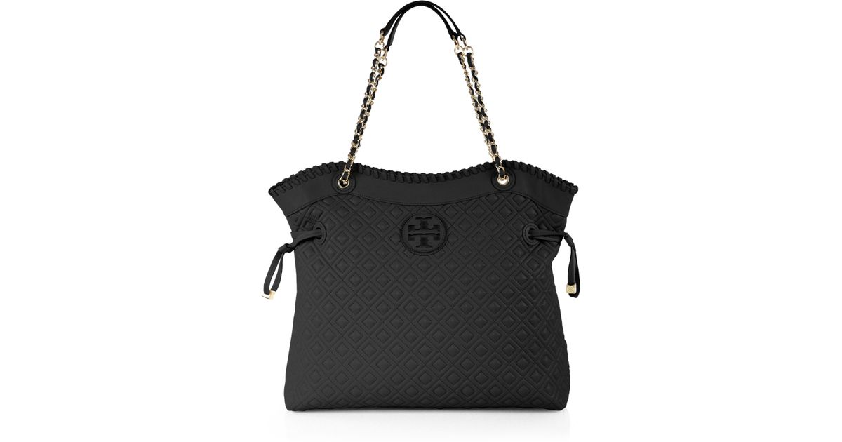 Cozy Lyst Tory Burch Marion Quilted Slouchy Tote In Black Ivoiregion