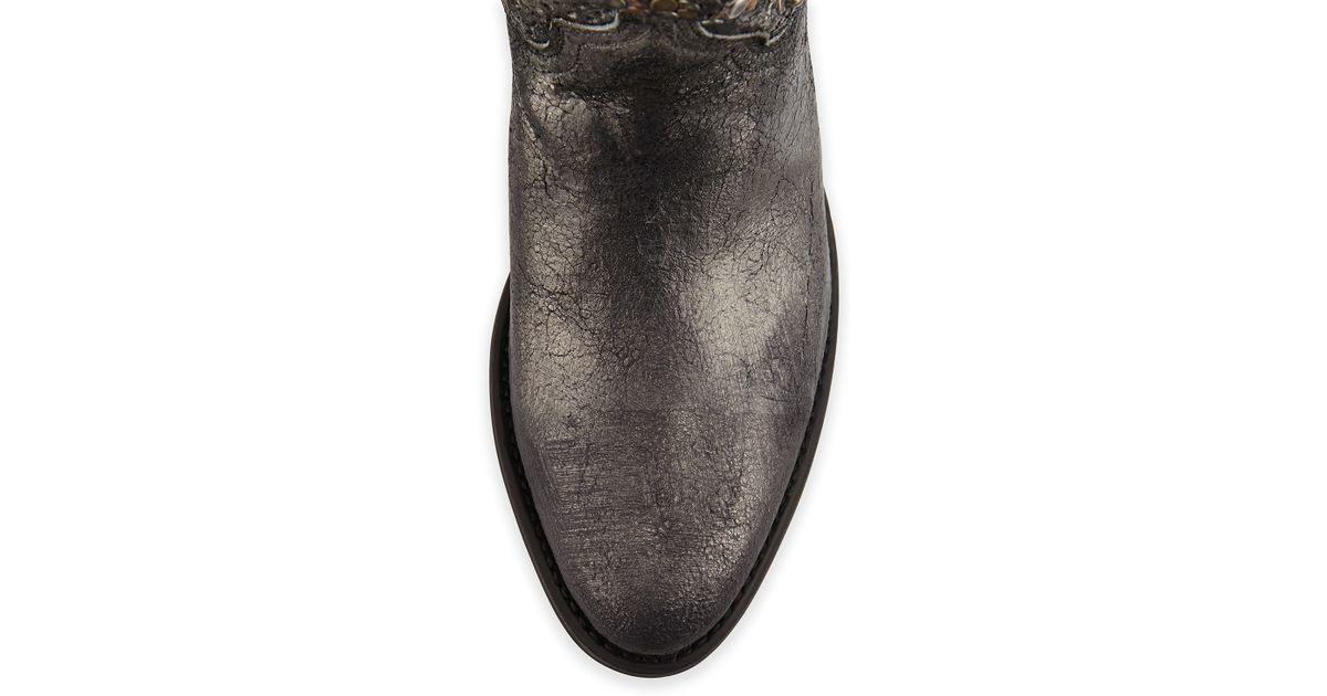 Lyst Frye Deborah Studded Vintage Leather Boot In Gray