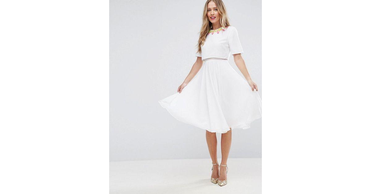 Asos 3d Embellished Crop Top Midi Skater Dress In White Lyst