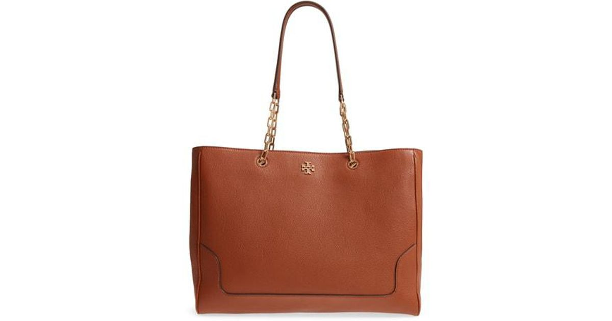 Lyst Tory Burch Marsden Pebbled Leather Tote In Brown