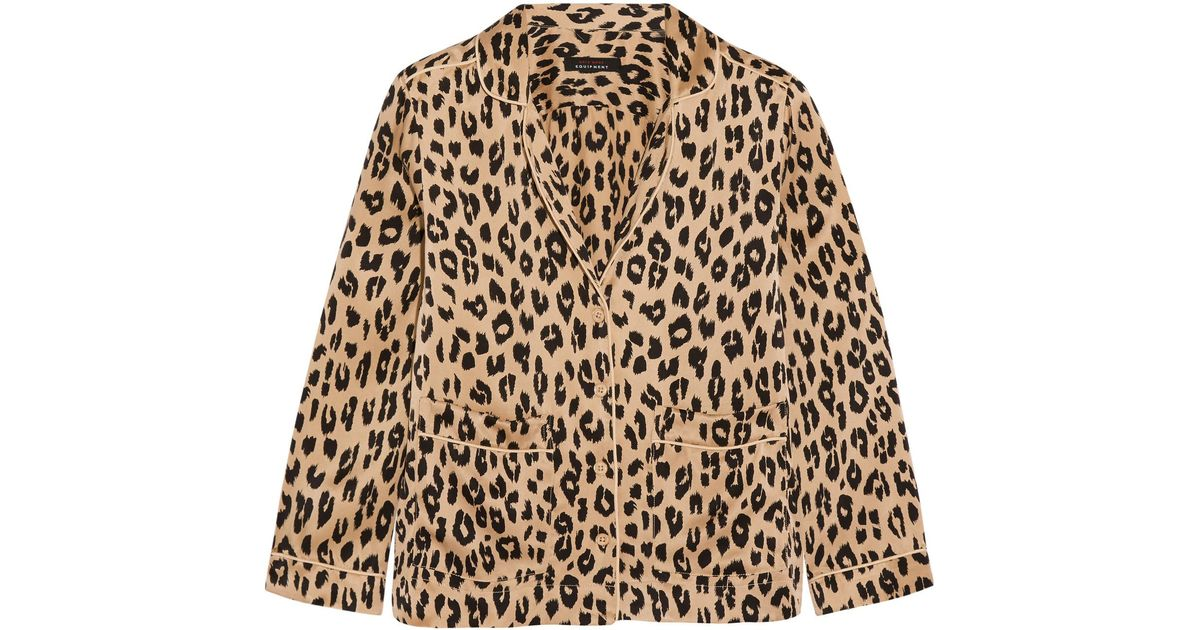 Equipment Kate Moss Lake Leopard Print Washed Silk