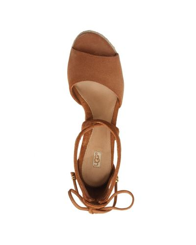 Ugg Reagan Chestnut Suede Ankle Tie Wedge Sandal In Tan