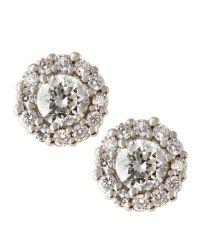 Neiman marcus 18k Diamond Stud Plus Earrings in Silver ...