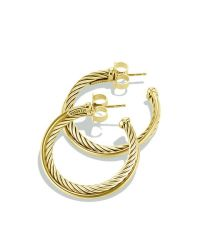 David yurman Crossover Medium Hoop Earrings In Gold in ...
