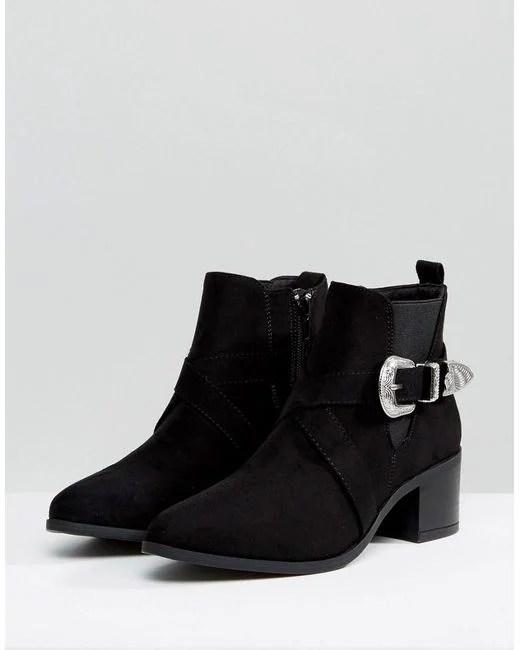 New Look Buckle Western Chelsea Boot In Black Lyst