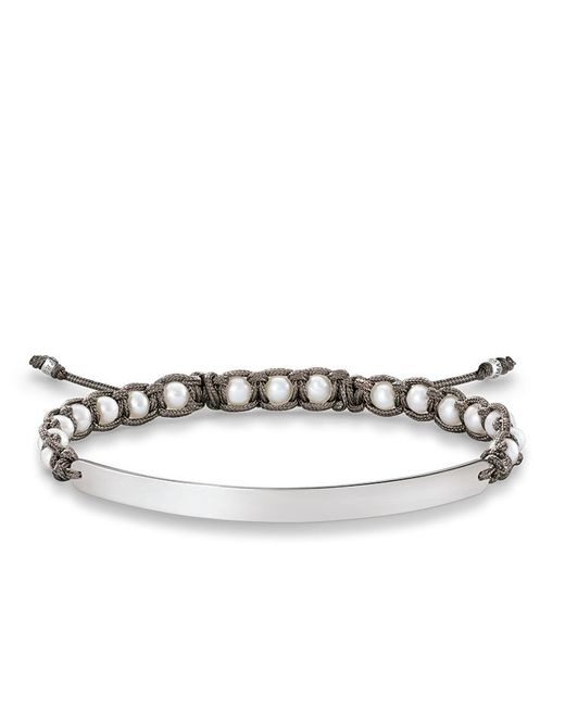 Thomas Sabo Pearl Macrame Love Bridge Bracelet In White Lyst