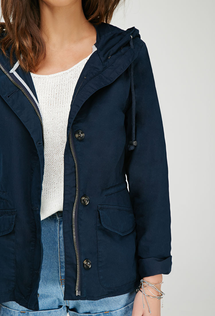 Zom Tailor Forever 21 Hooded Utility Jacket In Navy (blue) - Lyst