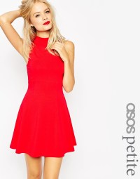 Lyst - Asos Petite High Neck Empire Dress in Red