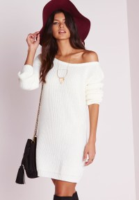 Missguided Off Shoulder Knitted Jumper Dress Cream in ...