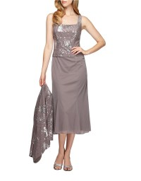 Alex evenings Plus T Length Dress With Sequined Jacket in ...