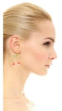 Alexis bittar Knotted Cherry Hoop Earrings in Orange | Lyst