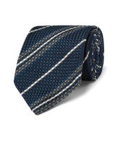 Drake's Striped Woven Silk Tie in Blue for Men | Lyst