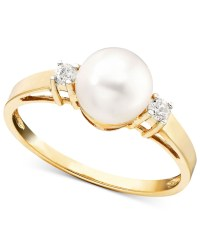 Macy's Cultured Freshwater Pearl (7mm) And Diamond Accent ...