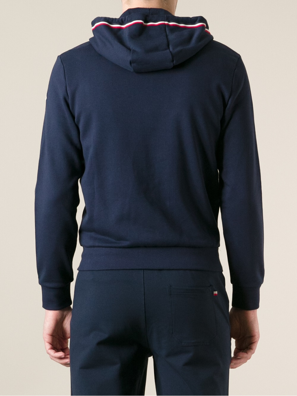 Adidas Pullover Sweatshirt Lyst Moncler Drawstring Hoodie In Blue For Men