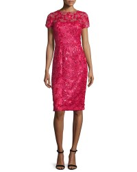 David meister Short-sleeve Sequined Lace Sheath Cocktail ...