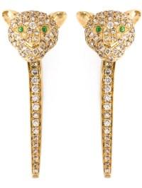 Lyst - Elise Dray Diamond Tiger Earrings in Metallic