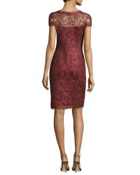 Tadashi shoji Cap-sleeve Sequined Lace Cocktail Dress in ...