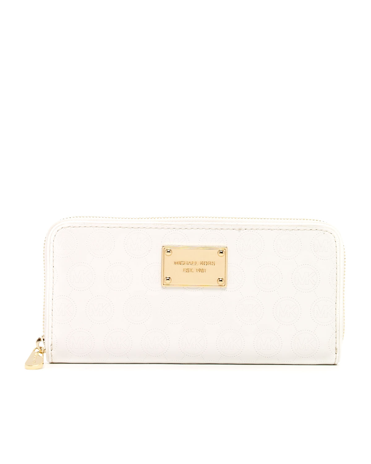 White Photo Monogram Leather Large Flap Continental Wallet White