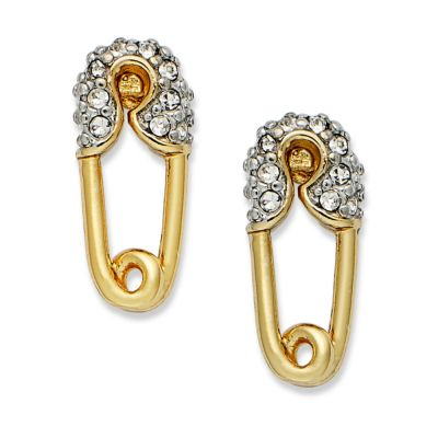 Juicy Couture Gold Tone Crystal Safety Pin Stud Earrings ...