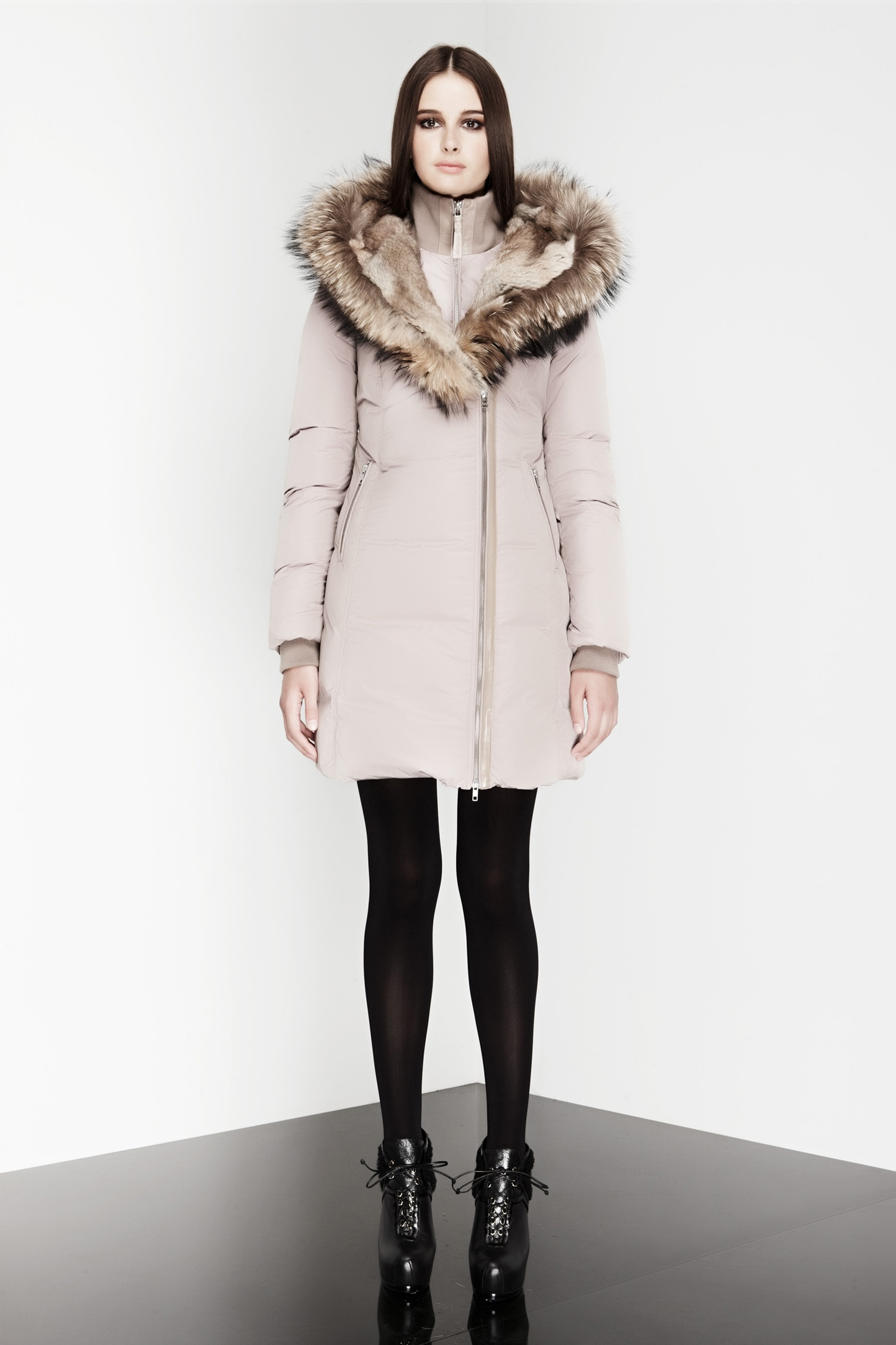 Black Clothing Rack Mackage Trish Coat In Natural - Lyst