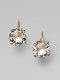 Kate spade Clear Drop Leverback Earrings in White | Lyst