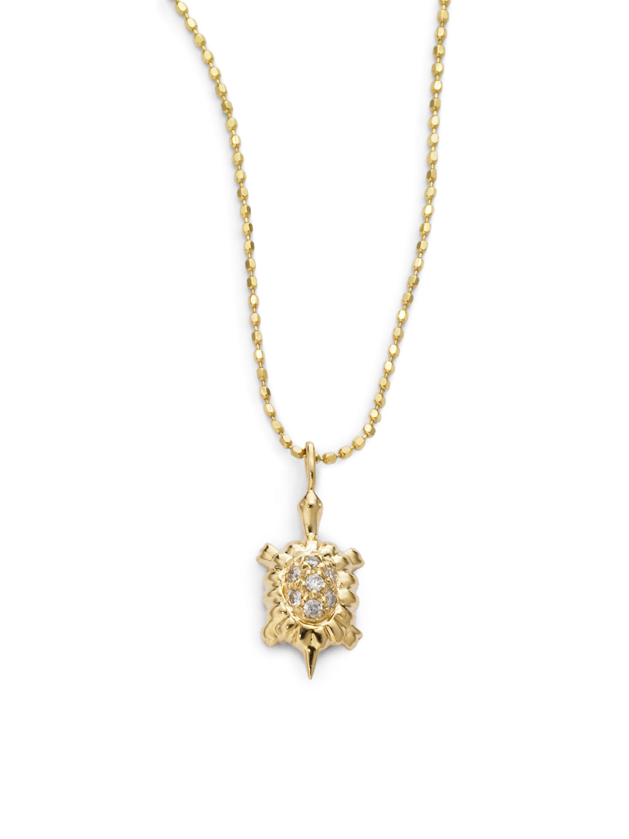 Sydney Evan Diamond Baby Turtle Pendant Necklace In Gold