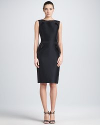 Carolina herrera Sleeveless Mikado Sheath Dress Black in ...