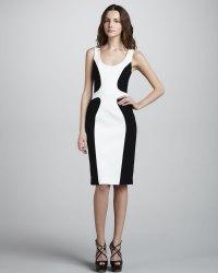 Black halo Color Block Sheath Dress in White (sugar/black ...