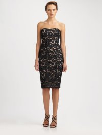 Lyst - Notte by marchesa Strapless Lace Cocktail Dress in ...
