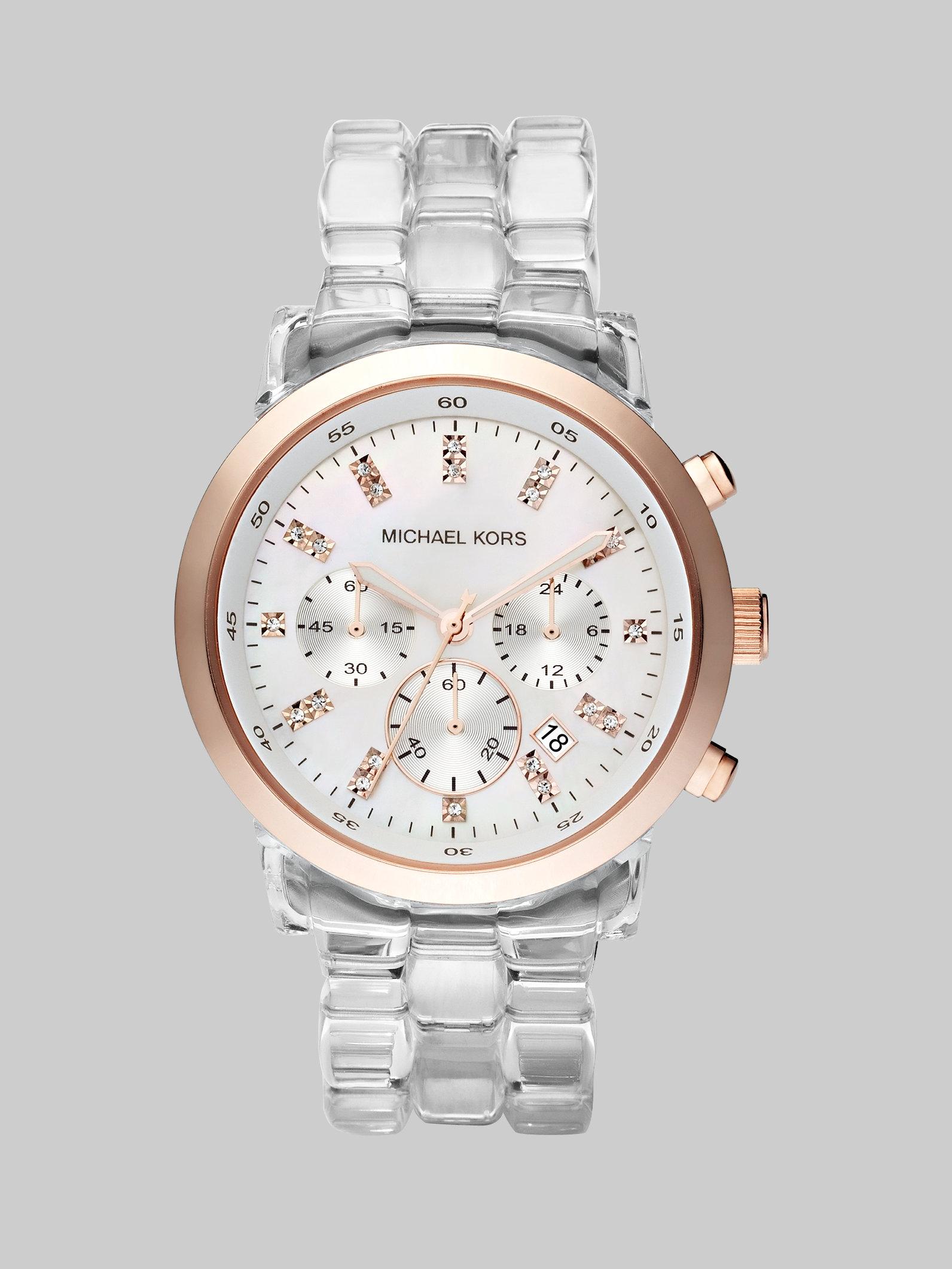 Michael Kors Clear Bracelet Chronograph Watch In Metallic