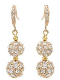 Mikey Crystal Heavy Earrings in Gold | Lyst