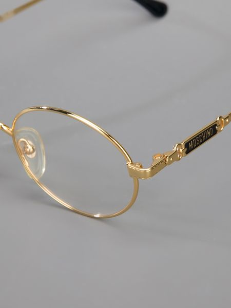 Large Frame Round Glasses Moschino Round Frame Glasses In Gold Lyst