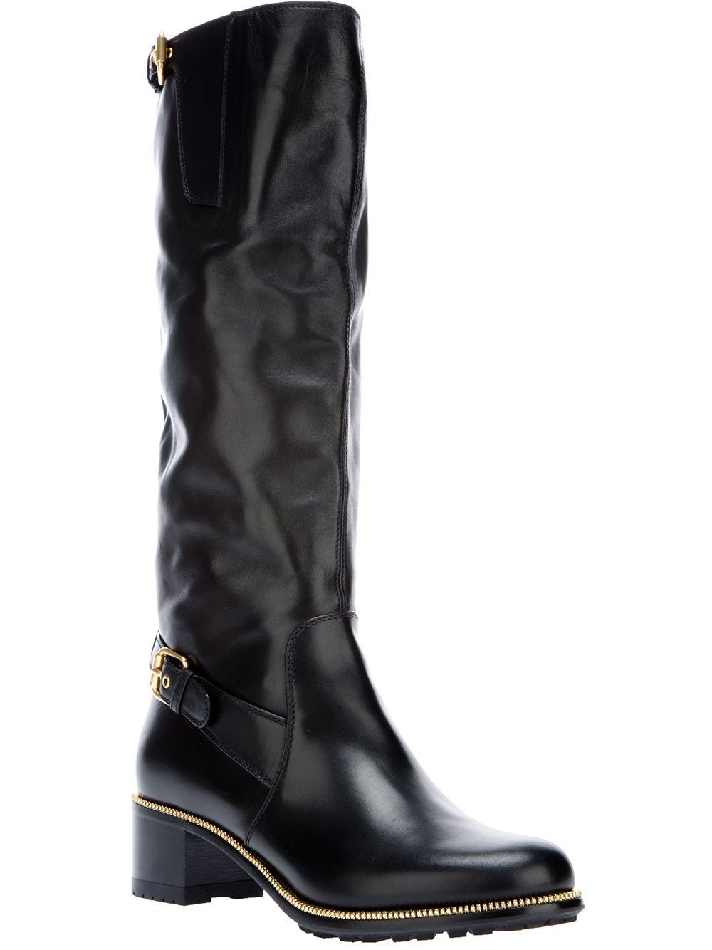 Sergio Rossi Buckled Knee High Boot In Black Lyst
