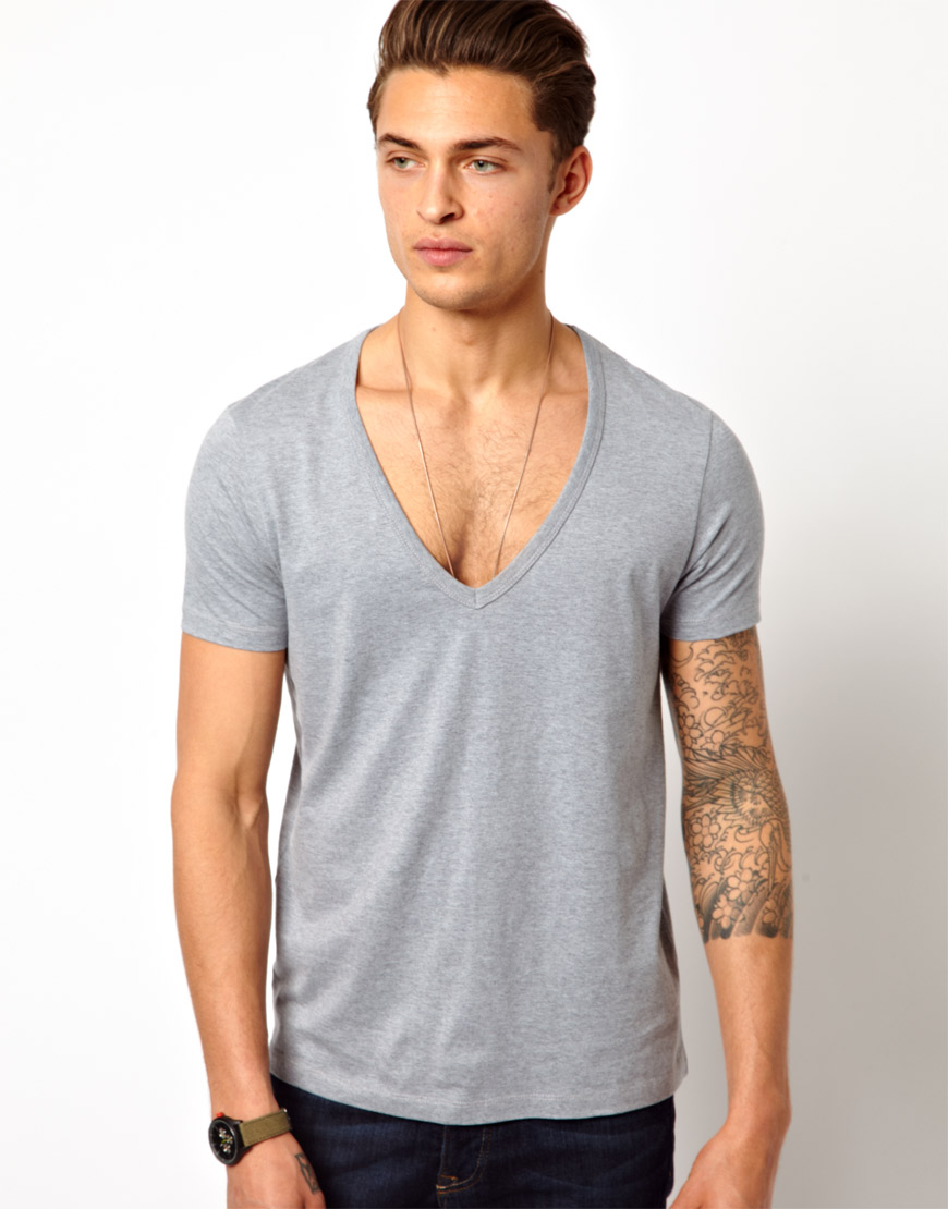 V Neck T Shirt Lyst - Asos T-shirt With Deep V Neck In Gray For Men