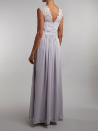 Ariella Bridesmaid Lace Chiffon Maxi Dress in Gray (Grey