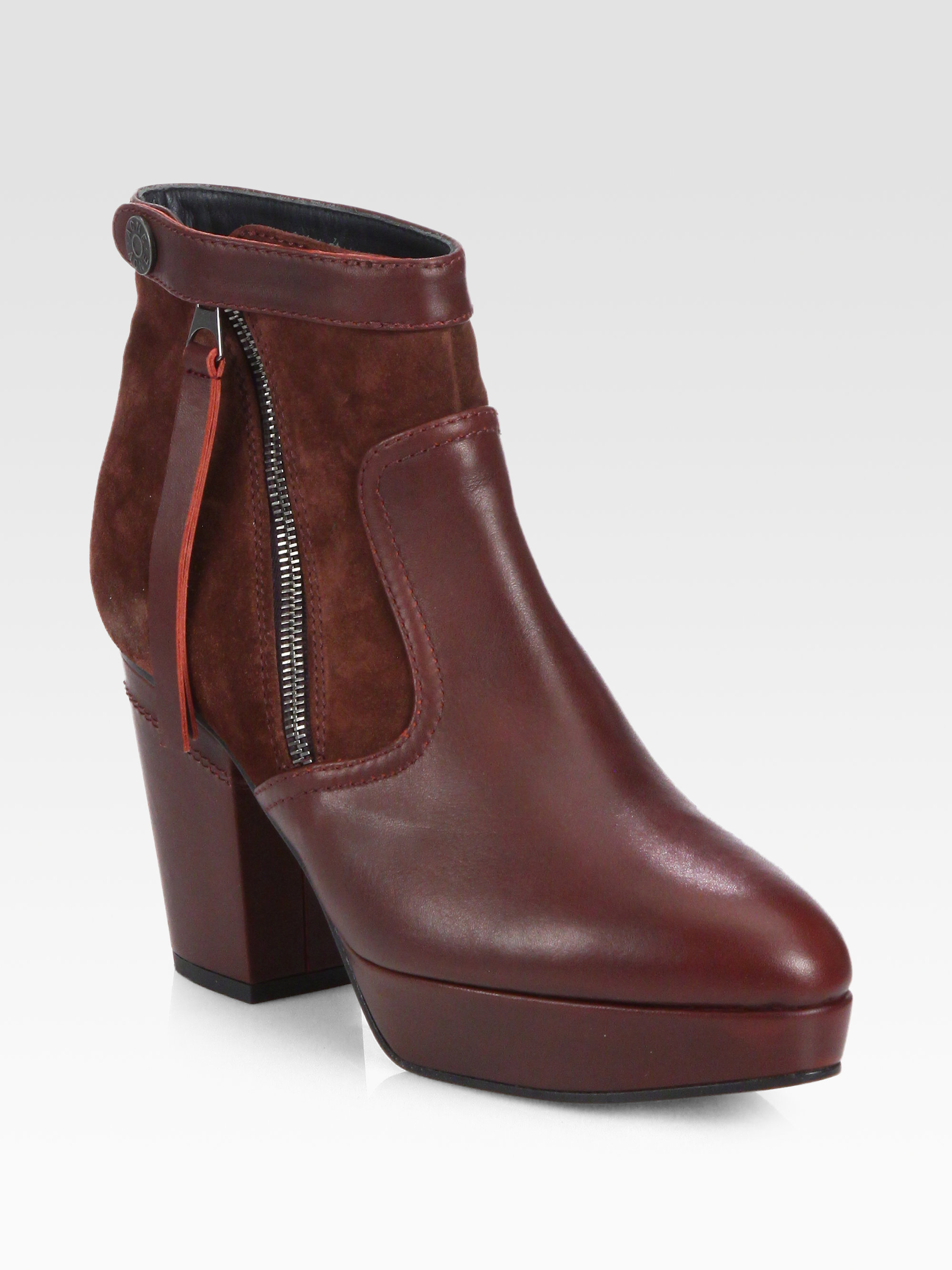 Acne Studios Suede Platform Ankle Boots In Red Wine Lyst