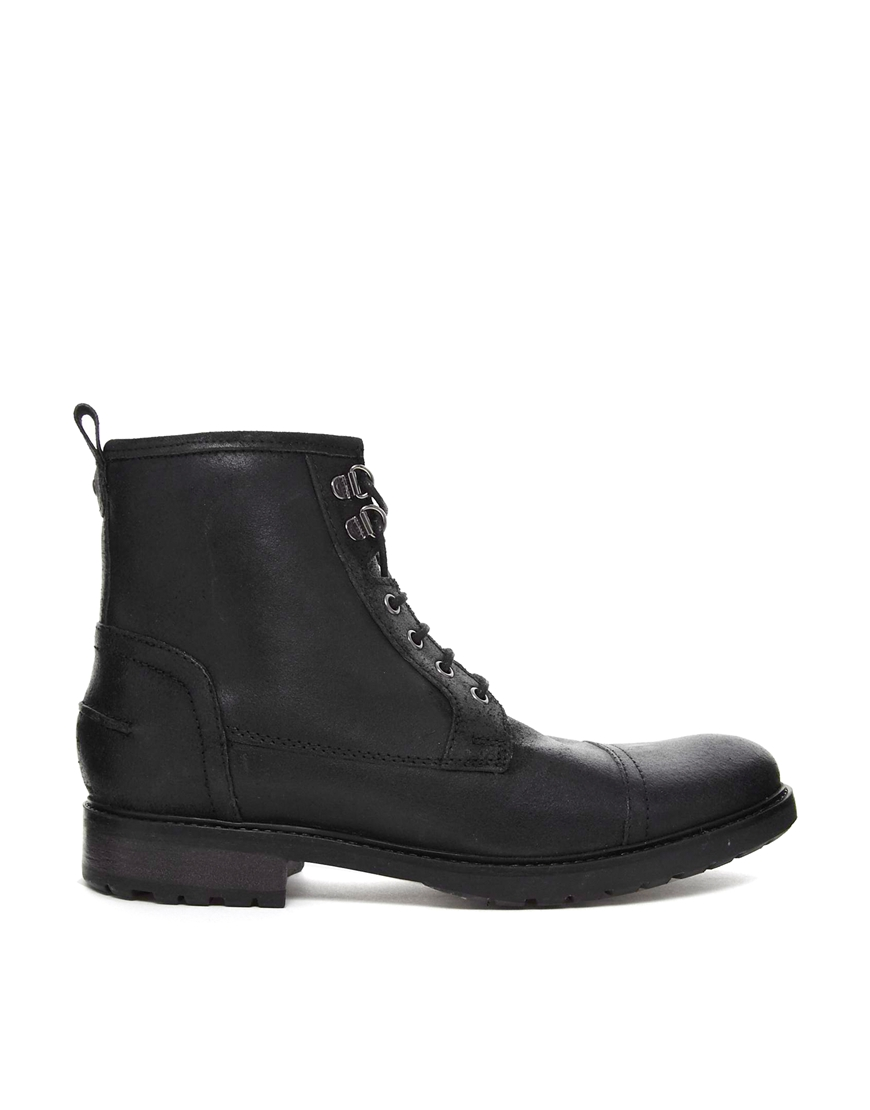 Asos Asos Workboots With Shearling Lining In Black For Men