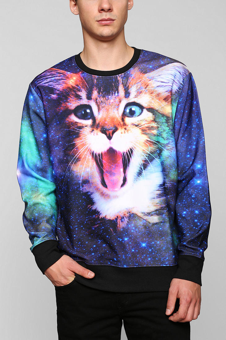 Adidas Pullover Sweatshirt Lyst Urban Outfitters Cat In Space Pullover Sweatshirt