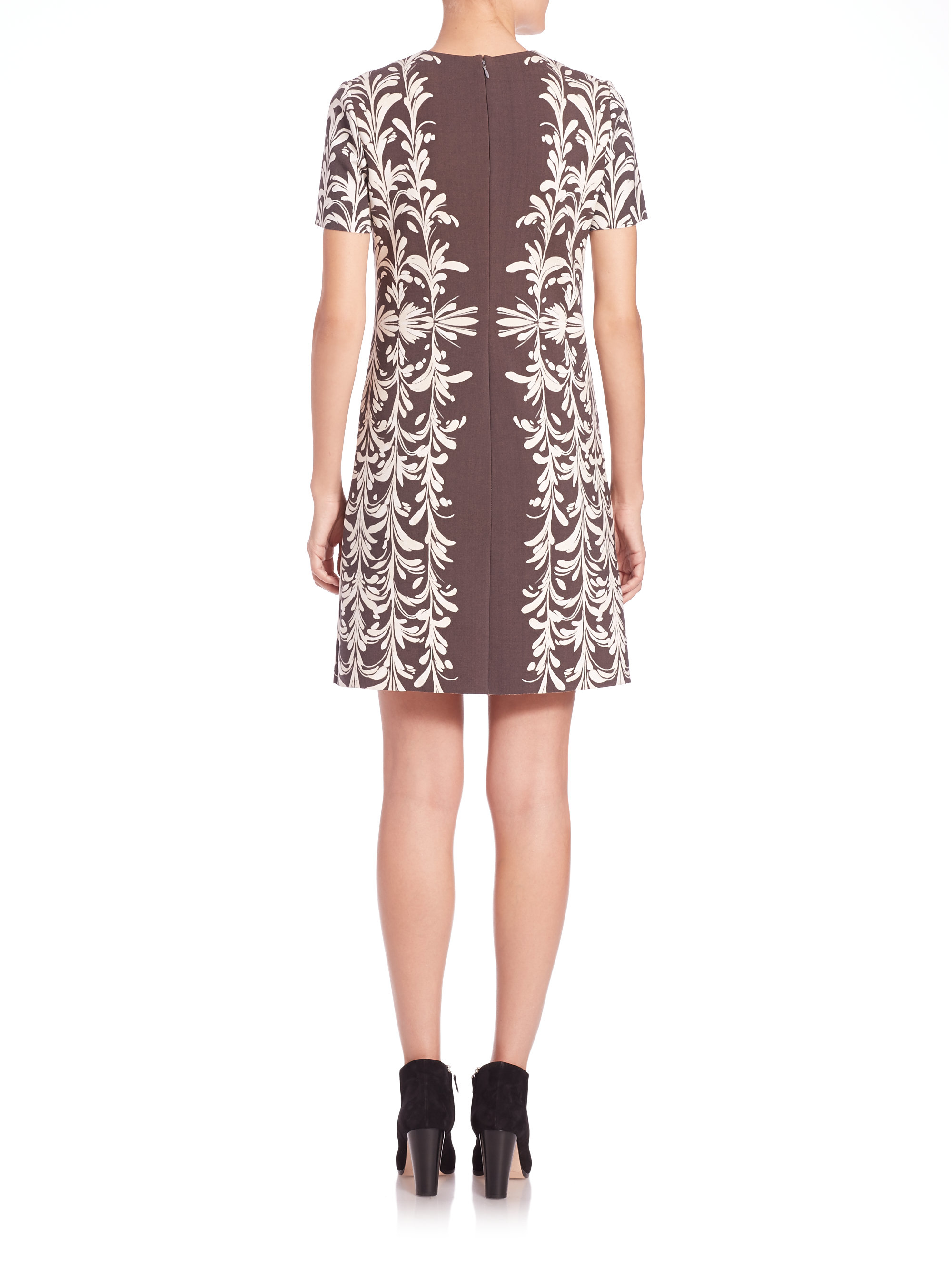 Il Ponte Wallet Tory Burch Floral Print Ponte Dress In Gray Lyst