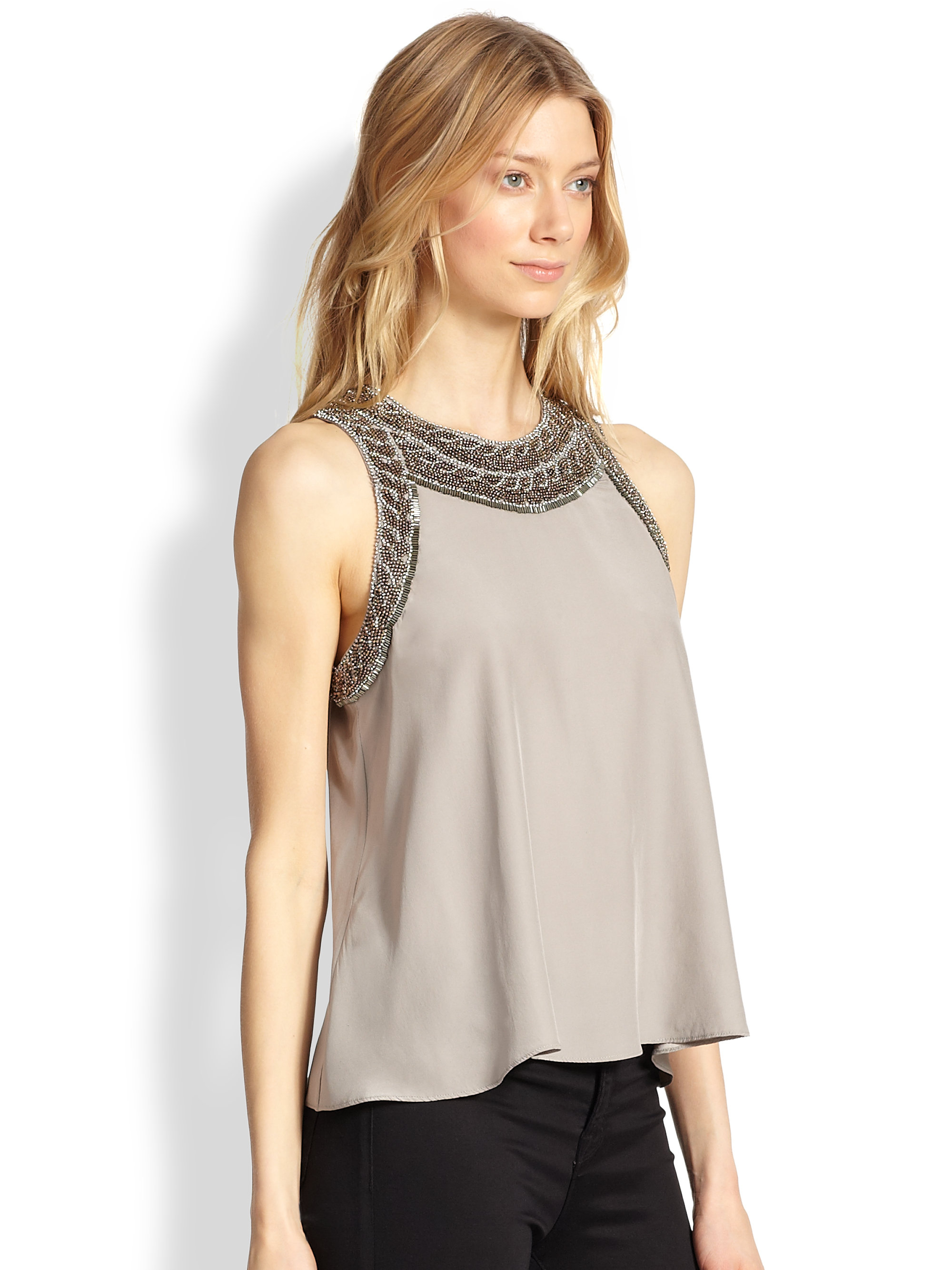 Unique Clothing Plus Size Lyst - Parker Estee Beaded Silk Tank Top In Natural