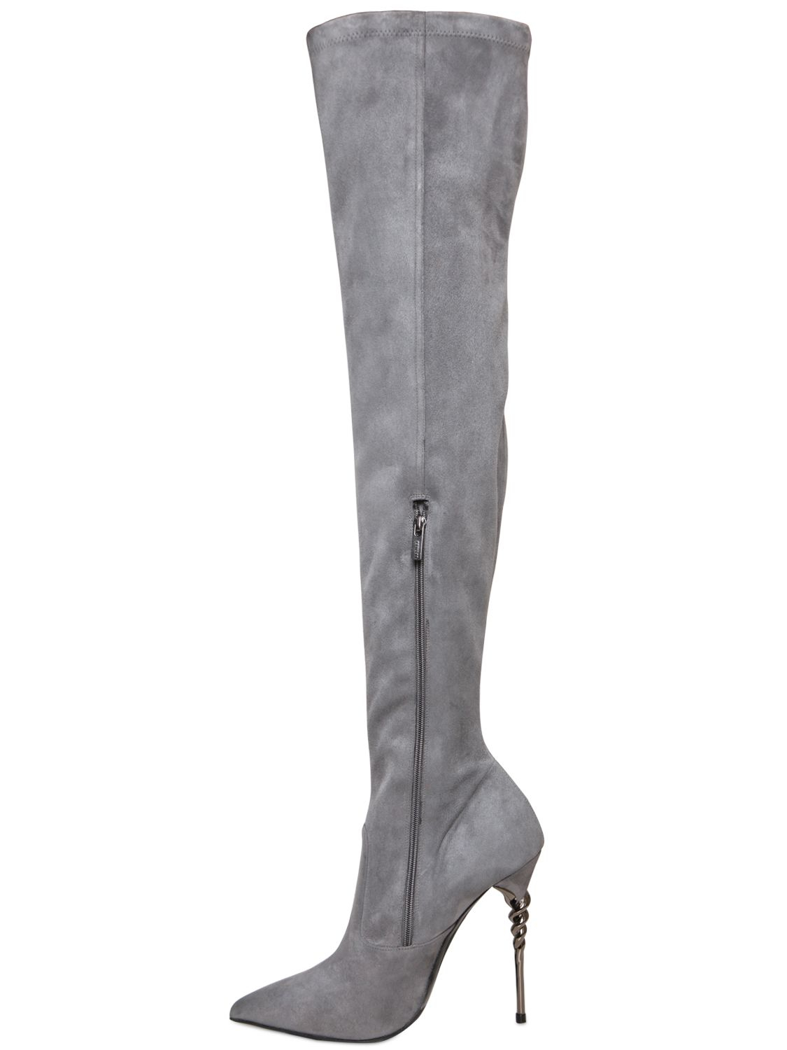 Le Silla Boots Lyst Le Silla 110mm Torchon Stretch Suede Boots In Gray