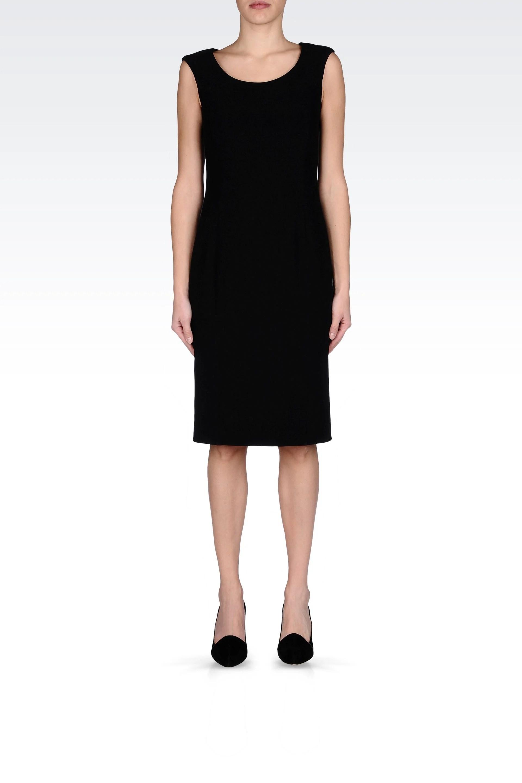 Armani Classic Sheath Dress in Stretch Cady in Black