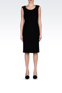 Armani Classic Sheath Dress in Stretch Cady in Black