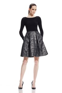 Theia Long Sleeve Party Dress in Black