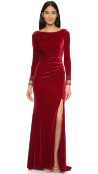Badgley Mischka Velvet Long Sleeve Dress - Crimson in Red ...