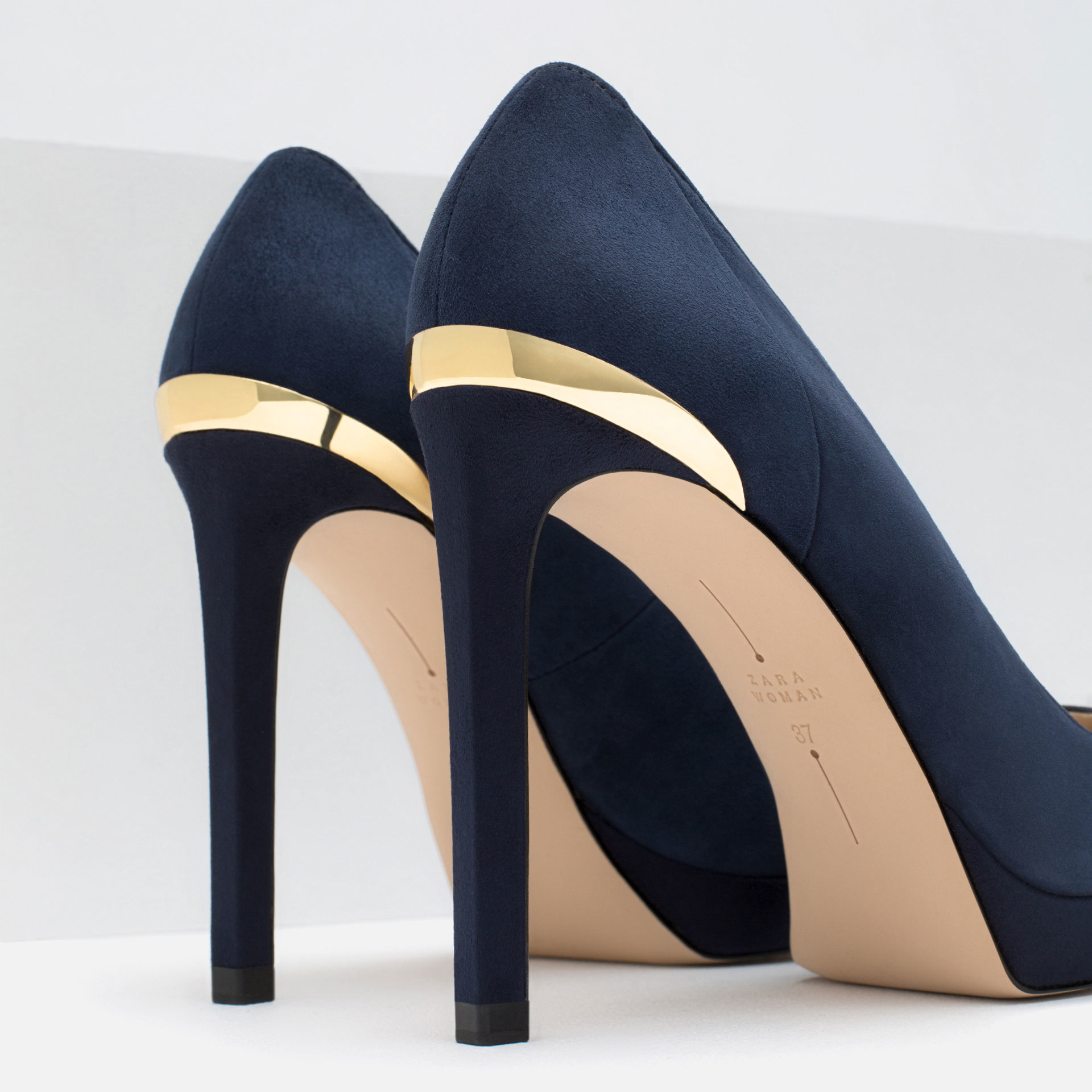 Zapatos Salon Azules Online Zara High Heel And Platform Leather Shoes In Blue Lyst
